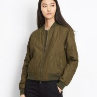 Khaki Quilted Shell Bomber