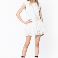 White Jeo Brode Skirt