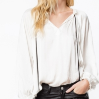 White Theresa Satin Blouse