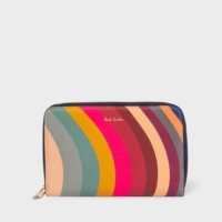 Medium 'Swirl' Print Leather Zip-Around Purse