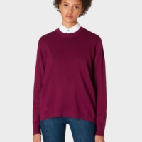 Burgundy Open Back Wool-Blend Sweater