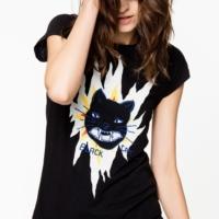 Skinny Cat Print T-shirt
