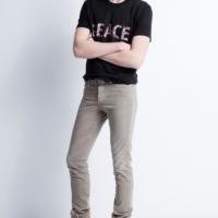 Black Taro Print Lin T-Shirt