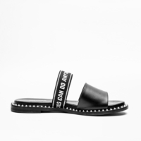 Black Field Words Sandals