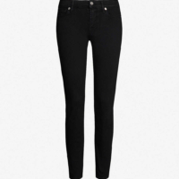Bair Rinsed Black Mid Rise Roxanne Cropped Jeans