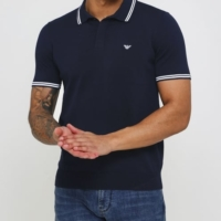 Navy Striped Collar Polo Shirt