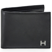 Black Leather H Billfold Wallet