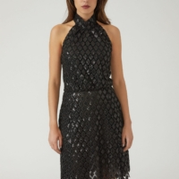 Black Sequined Diamond Macramé Dress