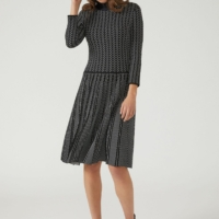 Black & White Knitted Dress with Pleated Skirt