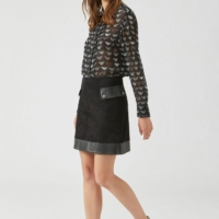Black A-Line Leather Skirt