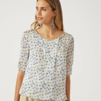 Beige Floral Charmeuse Blouse