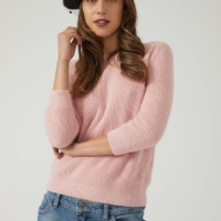 Pink Ribbed Angora Jumper