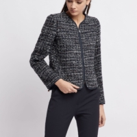 Blue Tweed Blazer with Lurex Details