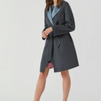Blue Two-tone Wool and Cashmere Coat