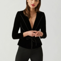 Black Velvet with Satin Piping Pattern Blazer