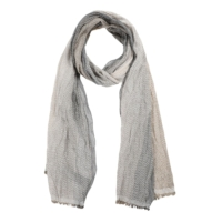 Beige Cotton Blend Patterned Gradient Scarf