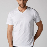 White V-Neck Slub T-Shirt