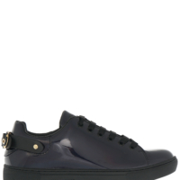 Black Patent Iridescent Sneakers with Back Strap