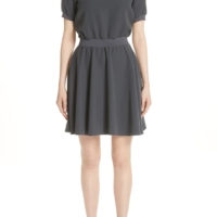 Charcoal Elastic Waist Shift Dress