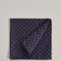 Blue Geo Floral Silk Pocket Square