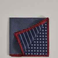 Blue Neat Quad Motif Silk Pocket Square