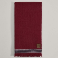 Red Stripe Trim Wool and Cashmere Scarf
