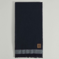 Navy Stripe Trim Wool and Cashmere Scarf