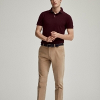 Beige Cotton Blend Chino Pants