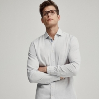 White Ticking Check Dobby Cotton Shirt