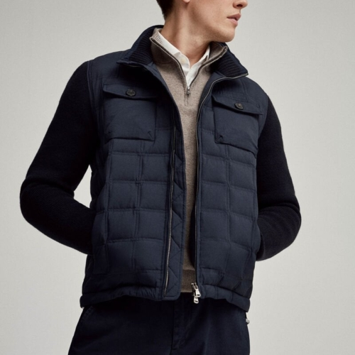Navy Hybrid Nylon-Knit Jacket