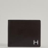 Dark Brown Leather H Billfold Wallet