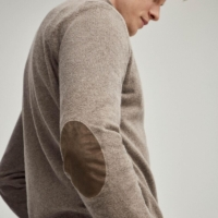 Brown Marl Lambswool Half Zip Sweater