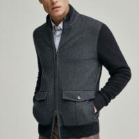 Navy Merino Wool Herringbone Front Cardigan