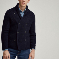 Navy Fisherman's Rib Cardigan