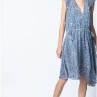 Light Blue Rozane Velour Dress