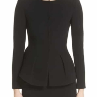 Black Peplum Wool Tailored Jacket