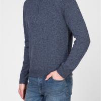 Blue Marl Lambswool Half Zip Sweater