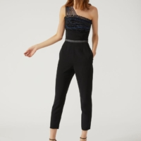 Black Crêpe and Satin Jumpsuit with Decorative Beaded Detailing