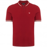 Red Striped Collar Polo Shirt