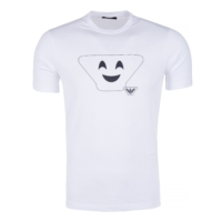 White Smiley Print T-Shirt