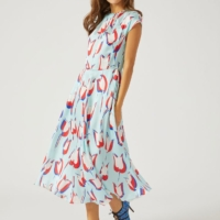 Turquoise Flower Print Dress