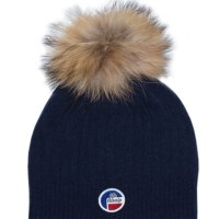 Navy Racoon Fur Bonnet Hat