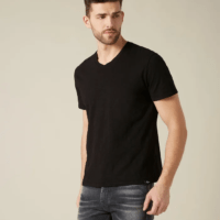 Black V-Neck Slub T-Shirt