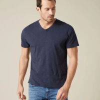 Navy V-Neck Slub T-Shirt
