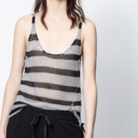 Silver & Black Joss Stripes Tank Top