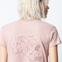 Dusty Pink Mandala Skull Fishnet T-Shirt