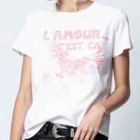 """White """"L'AMOUR C'EST CA"""" Slogan T-Shirt"""