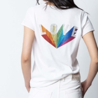 White Tunisien Love Strass T-Shirt