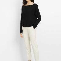 Black Drop Shoulder Boat Neck Top