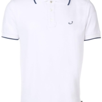 White Logo Embroidery Polo Shirt
